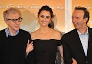 """From L: US film director Woody Allen, Spanish actress Penelope Cruz and Italian actor Roberto Benigni pose during the photocall for """"To Rome With Love"""" at a hotel in Rome. The film, which premieres Friday, revives the """"Dolce Vita"""" movie star heyday of the Eternal City"""