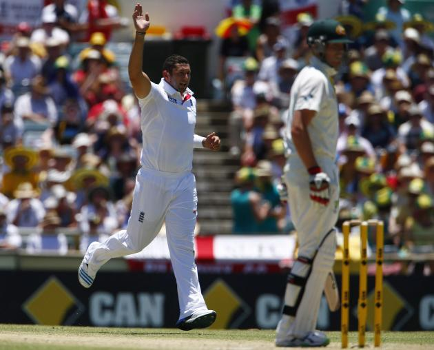 England's Bresnan celebrates after taking the wicket of Australia's Siddle during the second day of the third Ashes test cricket match in Perth