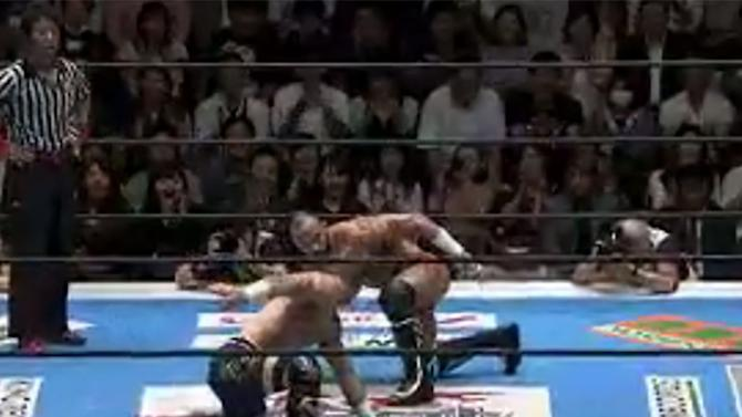 This jaw-dropping Japanese wrestling match looks like a dang action movie