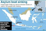 A graphic showing the area off the coast of Indonesia's Java where a boat carrying some 150 asylum-seekers sank on Wednesday en route to Australia