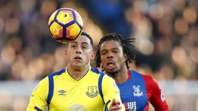 Crystal Palace's Loic Remy in action with Everton's Ramiro Funes Mori