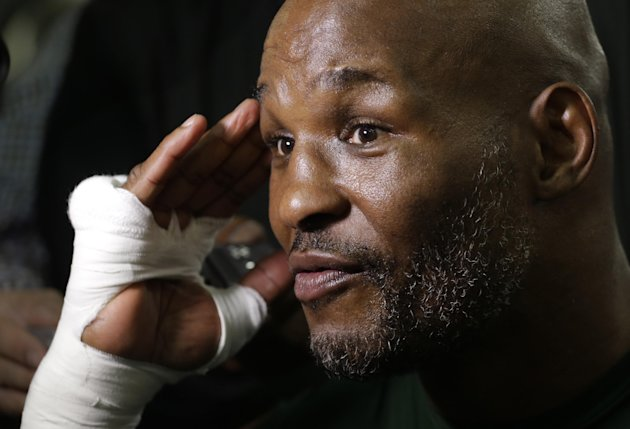 Boxer Bernard Hopkins talks to reporters before a workout at Gleason's Gym, Tuesday, Nov. 4, 2014 in the Brooklyn borough of New York. Hopkins fights Sergey Kovalev in a light heavyweight bout, Saturday, Nov. 8 in Atlantic City, N.J. (AP Photo/Mark Lennihan)