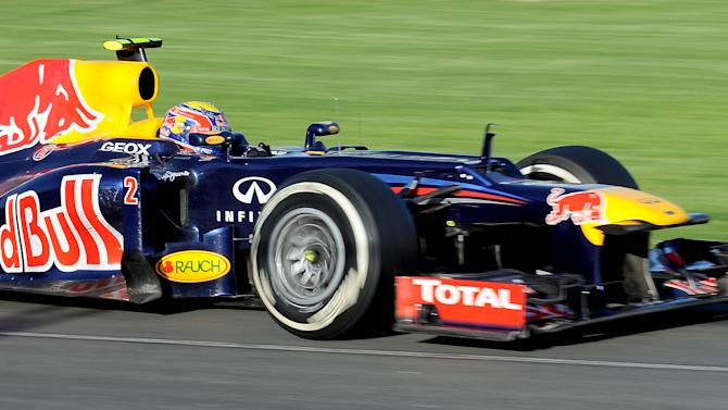 Red Bull - Renault driver Mark Webber of Australia powers through a corner during Formula One's Australian Grand Prix in Melbourne on March 18, 2012.     AFP PHOTO / Paul CROCK (Photo credit should read PAUL CROCK/AFP/Getty Images)
