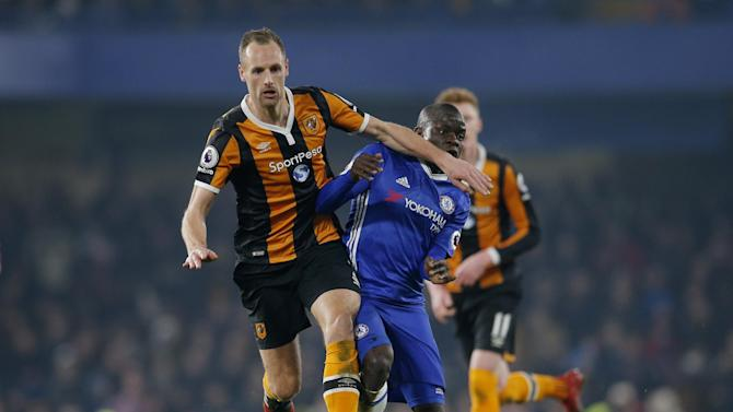 Chelsea's N'Golo Kante in action with Hull City's David Meyler