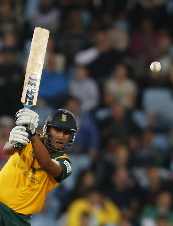 South Africa's Beuran Hendricks plays a shot during the final of the T20 cricket test match against Australia in Centurion
