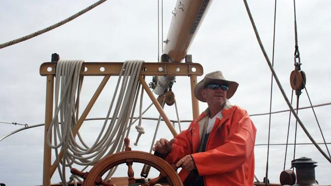 This undated photo provided by the St. Andrews Historic Seaport and Commercial Marina in Panama City, Fla. shows American David Dyche, skipper of the 70-foot (21-meter) vessel Nina. The classic 85-year-old wooden vessel and the seven people aboard it went missing while sailing from New Zealand to Australia in early June. Attempts to contact the crew by radio and an aerial search this week have proved fruitless. (AP Photo/St. Andrews Historic Seaport and Commercial Marina)