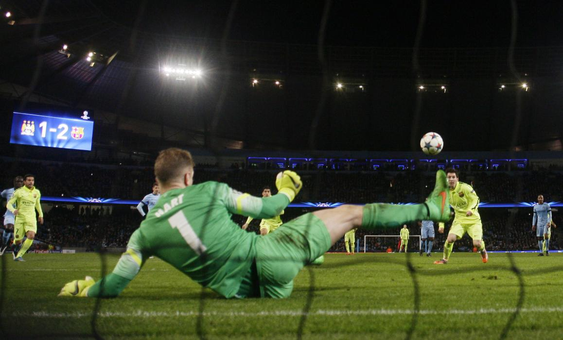 Football: Barcelona's Lionel Messi has his penalty saved by Manchester City's Joe Hart