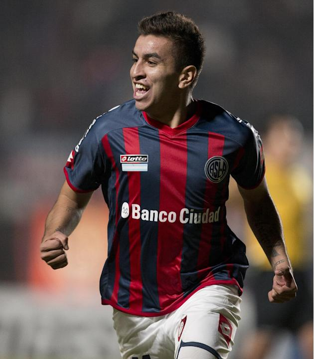 Angel Correa of Argentina's San Lorenzo reacts after scoring against Brazil's Gremio during a Copa Libertadores soccer match in Buenos Aires, Argentina, Wednesday, April 23, 2014