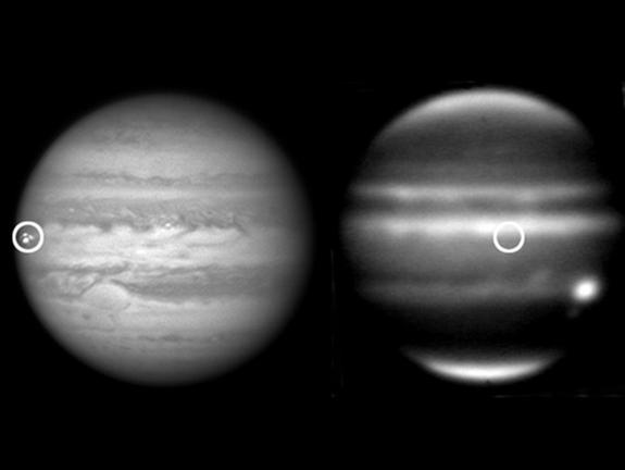 Jupiter has been suffering more impacts over the last four years than ever previously observed, including this meteoroid impact on Sept. 10, 2012. The left-hand image was taken from a red-filtered video by amateur astronomer George Hall of Dall