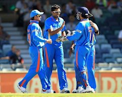 Ashwincelebrates with teammates after taking the wicket of Dinesh Chandimal during the ODI between India and Sri Lanka at WACA on February 8, 2012 in...