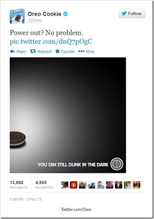Real Time Content Marketing Case Study: Oreo and the Super Bowl image Oreo Super Bowl real time content marketing