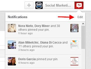 20 Pinterest Tricks And Tips You Might Not Have Discovered image Click on Edit under notifications
