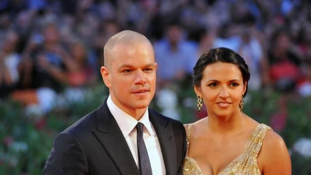 Matt Damon and wife Luciana arrive for the screening of 'Contagion' during the 68th Venice International Film Festival on September 3, 2011 -- Getty Images