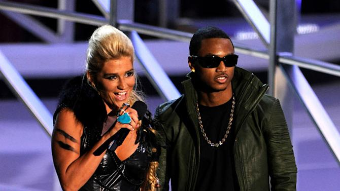 Ke$ha and Trey Songz on stage at the 2010 MTV Video Music Awards held at Nokia Theatre L.A. Live on September 12, 2010 in Los Angeles, California.