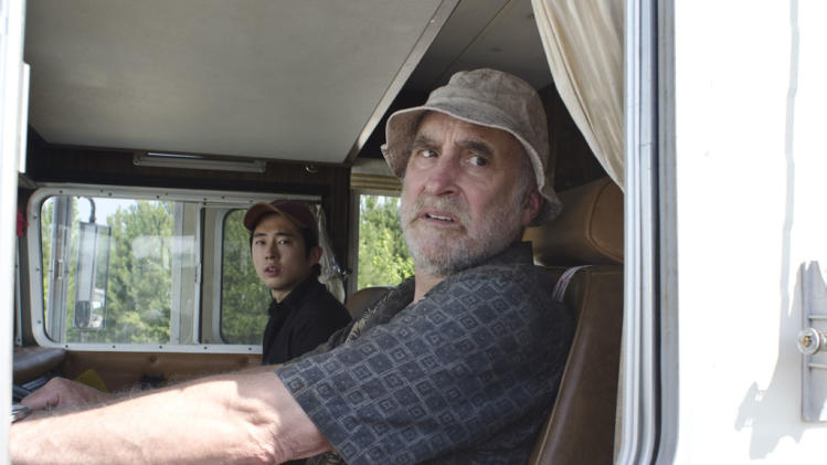 "Steven Yeun as Glenn and Jeffrey DeMunn as Dale on ""The Walking Dead."""