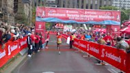 Betona Warga of Ethiopia had the fastest time in the Toronto Waterfront Marathon on Sunday, Oct. 14, 2012.