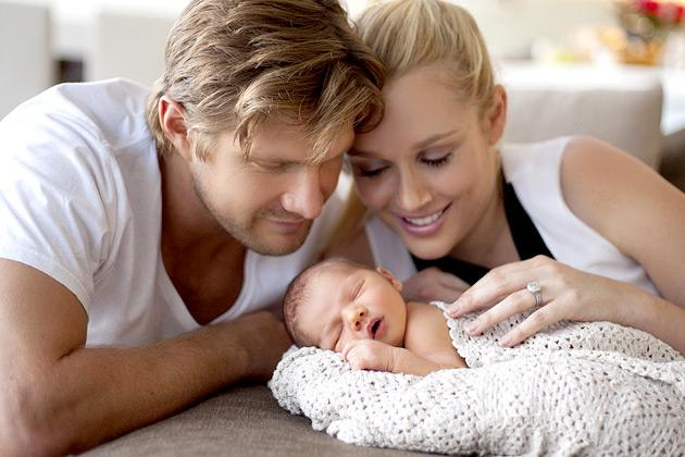 Australian cricketer Shane Watson and his wife Lee with newborn baby Will Robert Watson who was born on March 14, 2013. Watson has recently returned to India to play for Australia in the fourth Test i