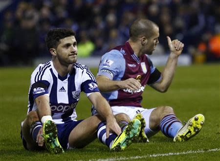 West Bromwich Albion's Long reacts after his shot on goal was stopped by Aston Villa's Vlaar during their English Premier League soccer match at The Hawthorns in West Bromwich