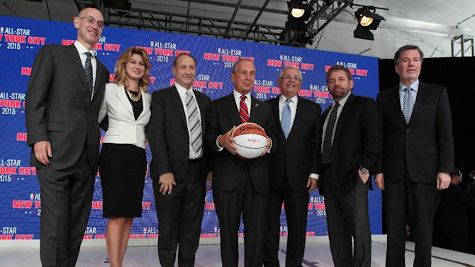 From left, NBA Deputy Commissioner Adam Silver; Irina Pavlova, president, ONEXIM Sports and Entertainment Holding USA Inc.; Bruce C. Ratner, majority owner and developer of Barclays Center and executive chairman of Forest City Ratner Cos.;, New York Mayor Michael Bloomberg, NBA Commissioner David Stern; James L. Dolan, executive chairman of Madison Square Garden Co.; and Hank J. Ratner, president and CEO of Madison Square Garden Co.,, pose for a photograph during a news conference Wednesday Sept. 25, 2013, in New York. The 64th NBA All-Star game is scheduled to be played at New York's Madison Square Garden on Sunday, Feb. 15, 2015 with Friday and Saturday night events being held at the Barclays Center in the Brooklyn borough of New York