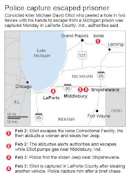 Map chronicles police efforts to capture an escapee from Ionia Correctional Facility. ; 2c x 5 inches; 96.3 mm x 127 mm;