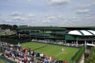 View of Court 19 at the All England Tennis Club in Wimbledon, southwest London, on June 25. The highly-trained hawk used to scare pigeons away from the pristine grass courts of Wimbledon was returned to its owners on Sunday after being stolen during the first week of the tennis tournament