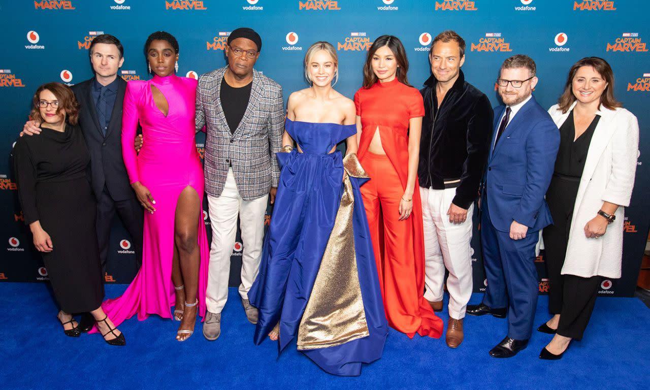 <p>安娜波頓、瑞安佛瑞克、拉沙納林區、山繆傑克森、布麗拉森、陳靜、裘德洛、強納森史瓦茲和維多莉亞艾倫索,於英國時間2019年2月27日出席了在英國倫敦舉辦的《驚奇隊長》首映。(圖/StillMoving.net for Disney) </p>