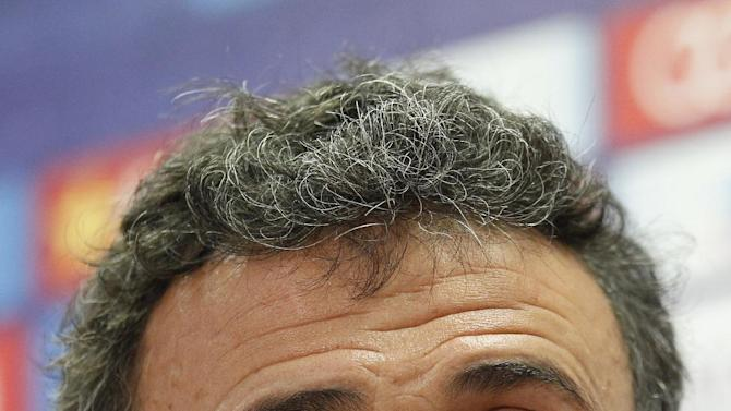FILE - In this Nov 20, 2015 file picture FC Barcelona's coach Luis Enrique attends a press conference at the Sports Center FC Barcelona Joan Gamper in San Joan Despi, Spain.The coach of the year shortlist of the ballon d'or  features one from a national team — Chile's Copa America winner Jorge Sampaoli — alongside Bayern Munich's Pep Guardiola and Barcelona's Luis Enrique.   (AP Photo/Manu Fernandez, File)