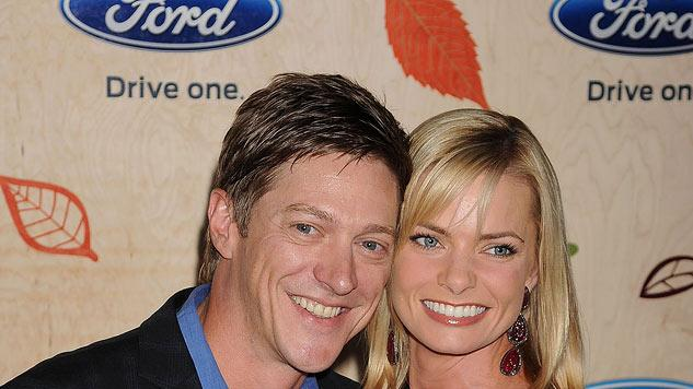 """Kevin Rahm and Jaime Pressly attend the """"FOX Fall Eco-Casino Party"""" at Book Bindery on September 12, 2011 in Culver City, California."""