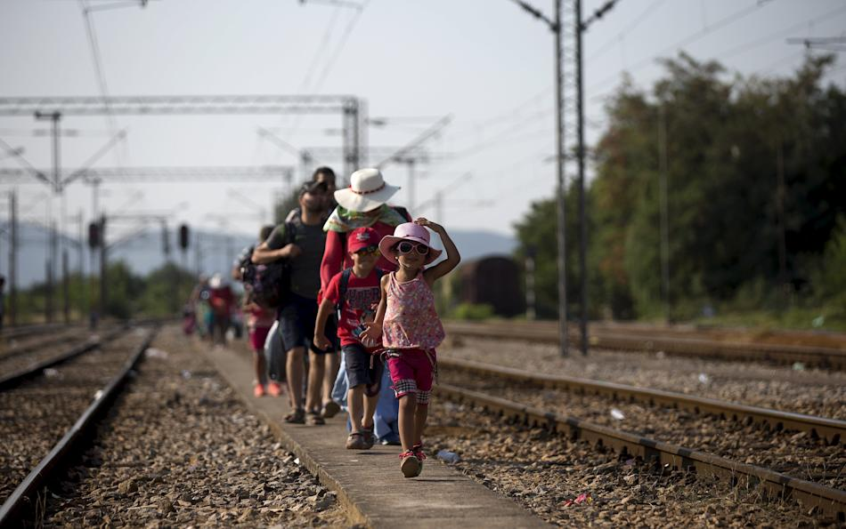 Migrants arrive at Gevgelija train station in Macedonia