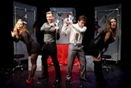 "Actors rehearse ""Cuff Me: The Fifty Shades of Grey Musical Parody"" at Actors Temple Theatre, New York. The Londo Fire Brigade urges those using handcuffs in the bedroom to ""always keep the keys handy"""