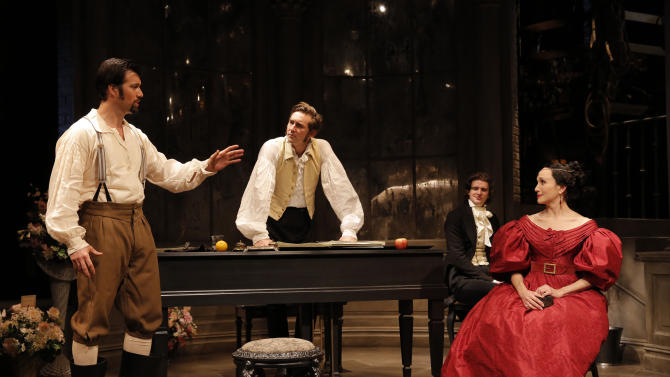 """This undated theater image released by Boneau/Bryan-Brown shows, from left, Lorenzo Pisoni, Lee Pace, Will Rogers and Bebe Neuwirth, in a scene from Terrence McNally's """"Golden Age,"""" currently performing at Manhattan Theatre Club at City Center in New York.  (AP Photo/Boneau/Bryan-Brown, Joan Marcus)"""