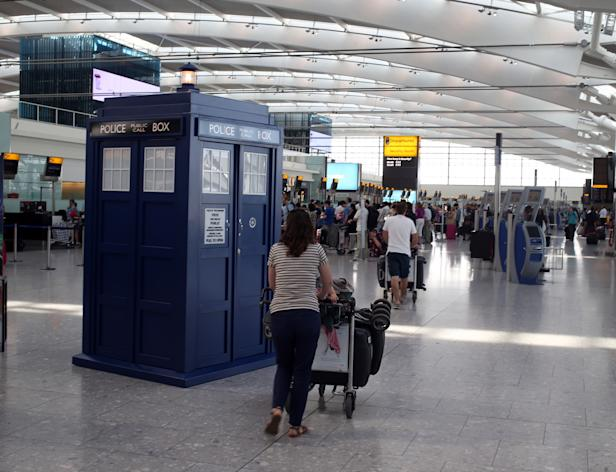 The TARDIS at Terminal 5 of Heathrow Airport in London as part of a summer promotion with Doctor Who and BBC Worldwide.