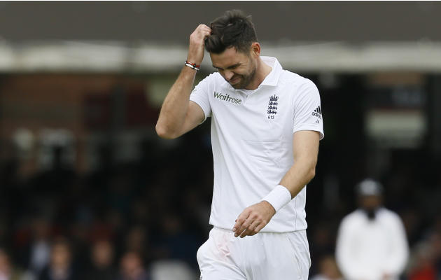 England's bowler James Anderson grimaces in frustration after bowling to New Zealand's Tom Latham during play on the second day of the first Test match at Lord's cricket ground in London,
