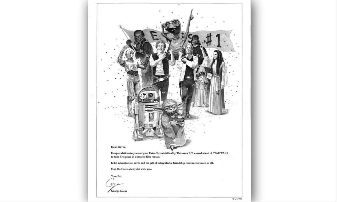 <p>喬治盧卡斯恭賀史蒂芬史匹柏的《E.T.外星人》,1983:「恭喜你和你的外星朋友。《E.T.外星人》於本週超越了《星際大戰》,在美國電影出租排行榜上攻佔第一名。E.T.在地球上的冒險旅程,以及他那份跨越星際的友誼,持續打動了我們每個人。願原力永遠與你同在。」 </p>