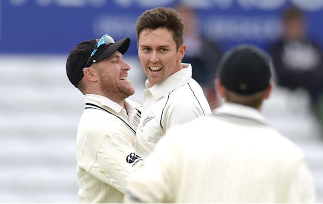 CRIC: New Zealand's Trent Boult and Brendon McCullum celebrate after dismissing England's Gary Ballance
