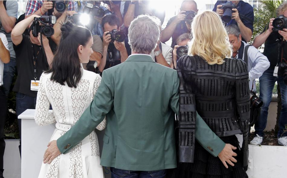 Director Todd Haynes, cast members Rooney Mara and Cate Blanchett pose during a photocall for the film