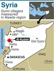 Map of Syria locating Al-Kubeir. The Syrian Observatory for Human Rights said at least 55 people were killed in Wednesday's assault on Al-Kubeir, a small Sunni farming enclave surrounded by Alawite villages in the central province of Hama