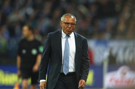 Wolfsburg's coach Magath reacts during the German first division Bundesliga soccer match against Schalke 04 in Gelsenkirchen