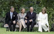 FILE - In this June 17, 2008 file photo, from left to right, Belgium's Crown Prince Philippe, Queen Paola, King Albert II and Belgium's Princess Mathilde sit during an official photo session at the Royal Palace in Laeken, Belgium. Belgian King Albert has unexpectedly announced that he will address the nation Wednesday July 3, 2013 a speech that comes amid rumors he will step down in the near future. The Royal Palace announced Albert will first attend a meeting with key government members before the address to air on all major broadcast networks this evening. (AP Photo/Virginia Mayo, File)