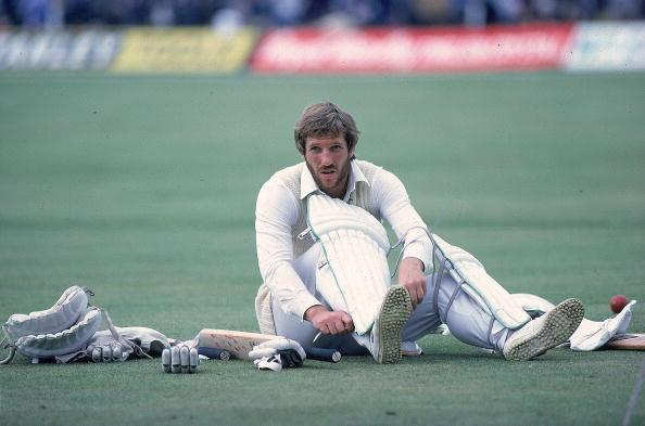 18 Jun 1981:  England Captain, Ian Botham prepares to bat during the first Test match against Australia at Trent Bridge in Nottingham, England.  Australia won the match by four wickets. \ Mandatory Cr