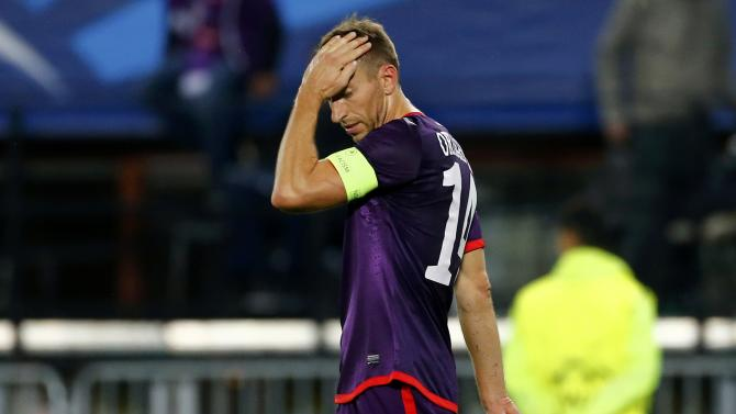 Austria Wien's Ortlechner reacts after losing their Champions League Group G soccer match against Porto in Vienna