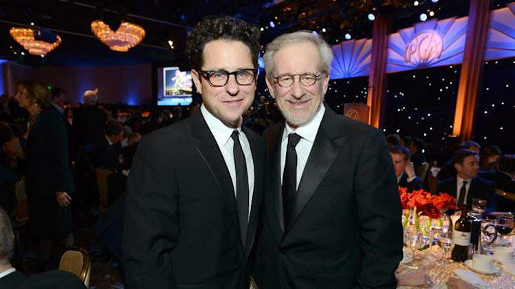 IMAGE DISTRIBUTED FOR THE PRODUCERS GUILD - J.J. Abrams, left, and Steven Spielberg pose in the audience at the 24th Annual Producers Guild (PGA) Awards at the Beverly Hilton Hotel on Saturday Jan. 26, 2013, in Beverly Hills, Calif. (Photo by Jordan Strauss/Invision for Producers Guild/AP Images)