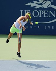Victoria Azarenka of Belarus practices prior to the start of the 2012 US Open at the USTA Billie Jean King National Tennis Center on August 24, 2012 in the Flushing neighborhood, of the Queens borough of New York City