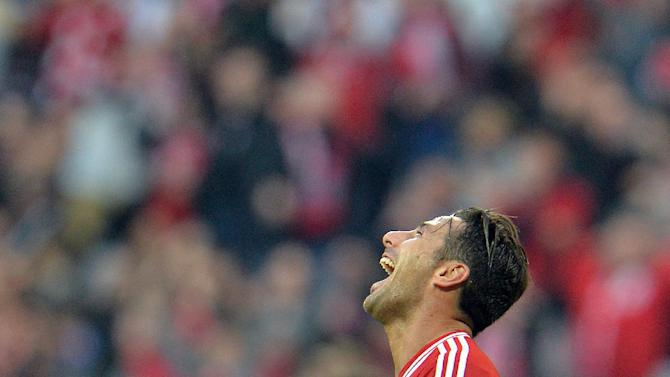 Bayern's Claudio Pizarro of Peru celebrates after scoring during the German first division Bundesliga soccer match between FC Bayern Munich and SC Freiburg in Munich, Germany, on Saturday, Feb. 15, 2014