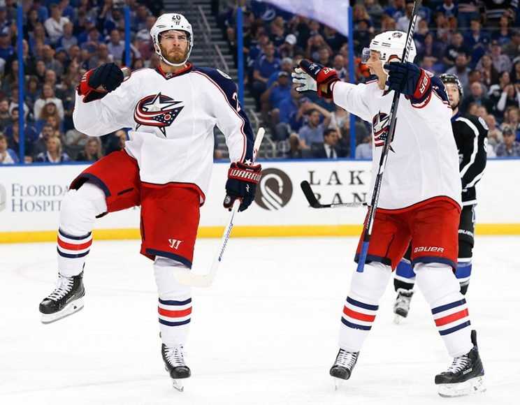 TAMPA, FL - NOVEMBER 25: Brandon Saad #20 of the Columbus Blue Jackets celebrates after scoring during the third period in the game against the Tampa Bay Lightning at Amalie Arena on November 25, 2016 in Tampa, Florida. (Photo by Mark LoMoglio/NHLI via Getty Images)