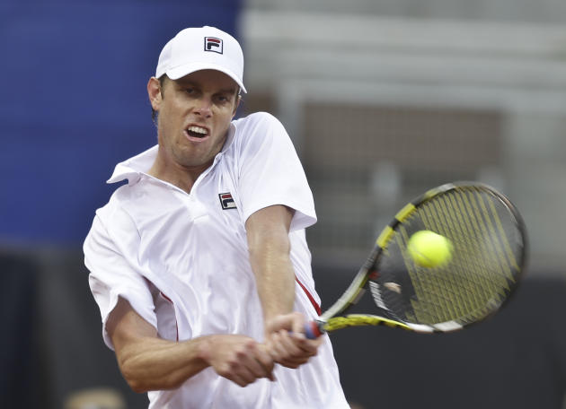 during a Davis Cup tennis match at Petco Park Friday, Jan. 31, 2014, in San Diego. (AP Photo/Lenny Ignelzi)