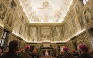 """Pope Benedict XVI addresses cardinals in the Clementine Hall at the Vatican in 2009. The Vatican slammed a """"sexual morality"""" book written by an American Catholic nun, warning believers to stay away from the tome which justifies masturbation, homosexuality and divorce"""