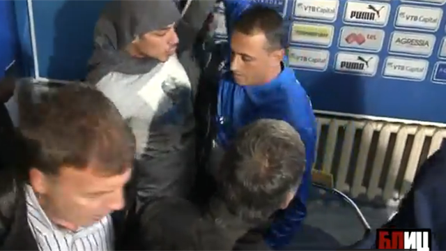 European Football - Angry Levski fans strip coach in his first press conference