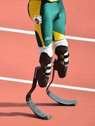 A close-up of South Africa's double amputee athlete Oscar Pistorius' blades prior to the start of the men's 400m heats at the London 2012 Olympic Games