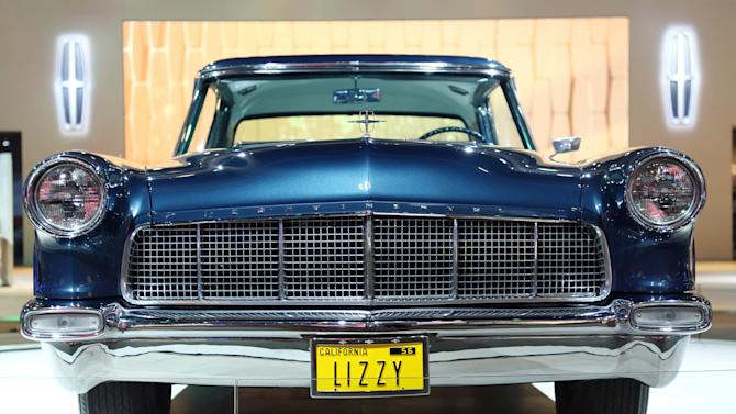 1956 Lincoln Continental Mark II, center, is seen as part of Lincoln's Heritage on Display at the Los Angeles Auto Show press day, Wednesday, Nov. 28, 2012 in Los Angeles. This car was built especially for Elizabeth Taylor with bespoke paint and interior that matched the color of her eyes. (Photo by Matt Sayles/Invision for Lincoln/AP Images)(Photo by Matt Sayles/Invision for Lincoln/AP Images)